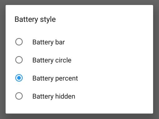 OnePlus 6 Battery Percentage Status Bar Options